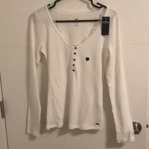 Abercrombie and Fitch white buttoned up sweater